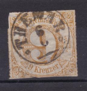 Ziffer 9 Kr. mit K1 THEMAR 6.6., Marke beschädigt