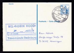 DEUTSCHE SCHIFFSPOST MS Robin Hood TT-Line TRAVEMÜNDE-TRELLEBORG 19.02.89 +