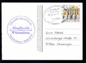 DEUTSCHE SCHIFFSPOST FS DEUTSCHLAND Scandlines PUTTGARDEN-RÖDBY 16.9.1999 +