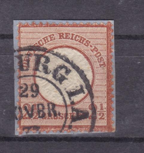 Adler mit großem Schild 2½  Gr.  auf kleinem Briefstück mit Hufeisenstempel  0