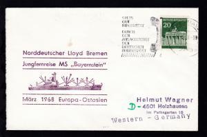OSt. Bremerhaven 12.7.86 + Cachet Jungfernreise MS Bayernstein auf Brief