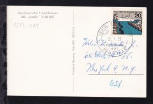 DEUTSCHE SCHIFFSPOST MS BERLIN NORDDEUTSCHER LLOYD BERMUDAS 24.4.65 auf CAK