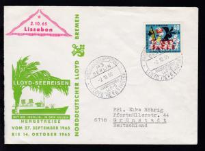 DEUTSCHE SCHIFFSPOST MS BERLIN NORDDEUTSCHER LLOYD LLOYD-HERBSTREISE 2.10.65  +