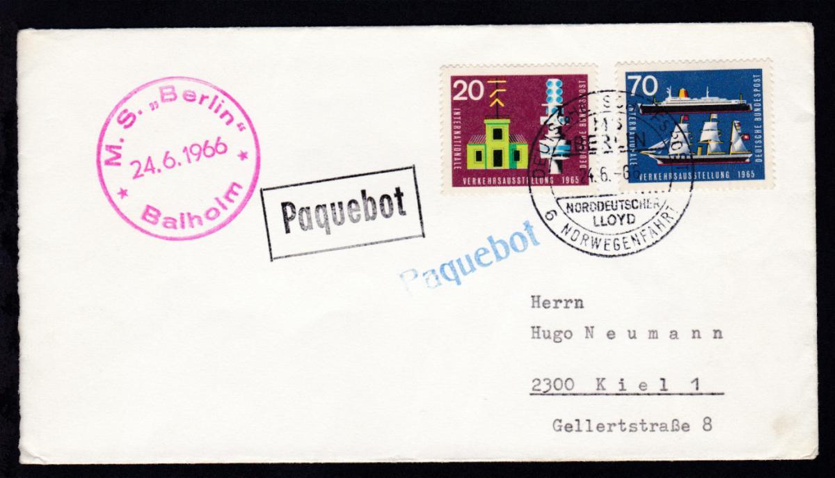 DEUTSCHE SCHIFFSPOST MS BERLIN NORDDEUTSCHER LLOYD 6. NORWEGENFAHRT 24.6.66 +  0
