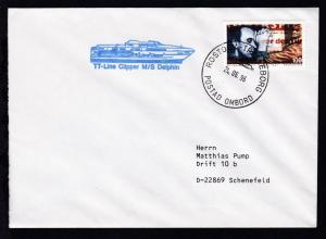 ROSTOCK-TRELLEBORG POSTAD OMBORD 24.06.96 + Cachet MS Delphin auf Brief