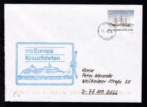 OSt. Helsinki 31.8.99 + Cachet MS Europa auf Brief