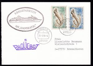 L1 PAQUEBOT + OSt. Lübeck 26.8.94 + Cachet MS Hanseatic auf Postkarte