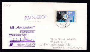 L1 PAQUEBOT + OSt. Rotterdam 4.11.75 + Cachet MS Holstenstein auf Brief