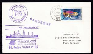 L1 PAQUEBOT + OSt. Amsterdam 25.IV.77 + Cachet MS Holstenstein auf Brief