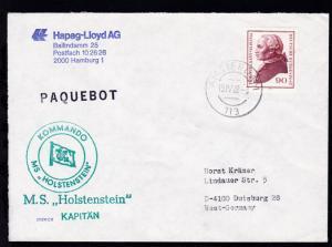 L1 PAQUEBOT + OSt. Amsterdam 15.IV.82 + Cachet MS Holstenstein auf