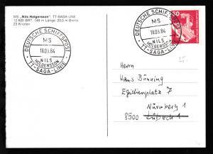 DEUTSCHE SCHIFFSPOST MS NILS HOLGERSSON TT-SAGA-LINE 10.09.84 auf CAK