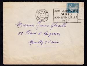 Maschinenstempel PARIS 47 R. LA BOETIE 19.II.1924 JEUX OLYMPIQUES PARIS