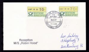 DEUTSCHE SCHIFFSPOST MS Robin Hood TT-SAGA-LINE TRAVEMÜNDE-TRELLEBORG 09.03.87 +