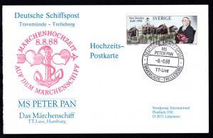 DEUTSCHE SCHIFFSPOST MS PETER PAN TT-Line TRAVEMÜNDE-TRELLEBORG 8.8.88 auf