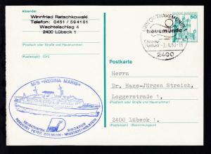 OSt. Lübeck-Travemünde 2.6.80 + Cachet MS Regina Maris auf Ganzsache