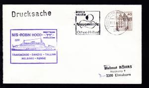 OSt. Lübeck-Travemünde 18.5.80 + Cachet MS Robin Hood auf Brief