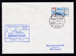 OSt. Lübeck-Travemünde 6.10.80 + Cachet MS Robin Hood II auf Brief