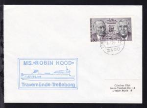 OSt. Lübeck-Travemünde 28.1.89 + Cachet MS Robin Hood auf Brief
