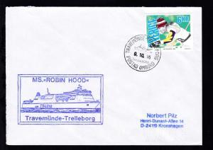 TRAVEMÜNDE-TRELLEBORG TRELLEBORG POSTAD OMBORD 9.10.95 + Cachet MS Robin Hood