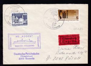 SASSNITZ 1 2355 FÄHRE Sassnitz-Trelleborg 24.02.83 + Cachet MS Rügen