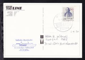 SASSNITZ 1 2355 TS-LINE Fähre 06.11.91+ Cachet MS Rügen auf CAK (MS Rügen)