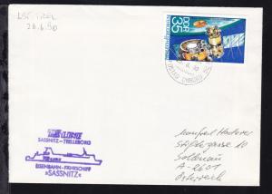 SASSNITZ-TRELLEBORG TRELLEBORG POSTAD OMBORD 25.6.90 + Cachet MS Sassnitz