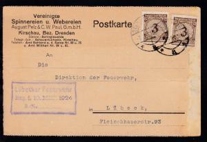 Ziffer 3 Pfg 2x auf Firmenpostkarte (Vereinigte Spinnereien und Webereien