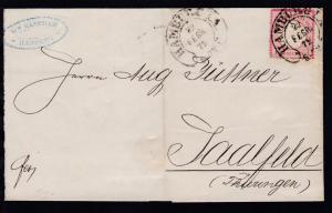 Adler mit kleinem Schild 1 Gr. auf Briefhülle mit Hufeisenstempel HAMBURG I.A.