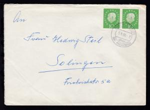 Heuss-Medaillon 10 Pfg. waager. Paar auf Brief ab Bosenheim über Bad Kreuznach