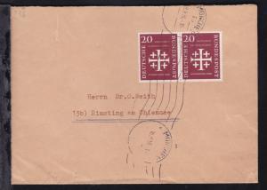 Kirchentag 20 Pfg. waager. Paar auf Brief ab München 18.9.56 nach Rimsting am