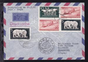SAS-Nordpolflug Oslo-Tokio am 24.2.57 Zuleitungsbrief aus der DDR