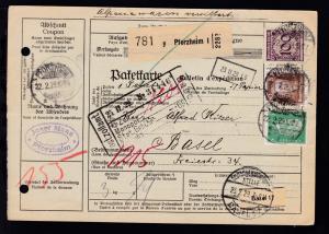 Ziffer 100 Pfg. + bedeutende Deutsche 50 Pfg. (beschädigt aufgeklebt) +