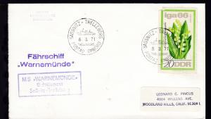 SASSNITZ-TRELLEBORG TRELLEBORG POSTAD OMBORD 8.3.71 + Cachets MS Warnemünde
