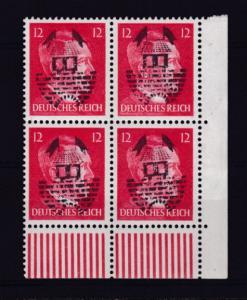 Nachläufer Hitler mit Aufdruck 12 Pfg Eckrandviererblock, **, nicht geprüft