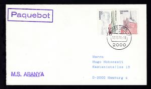 R1 Paquebot + OSt. Hamburg 12.10.78 + L1 M.S. ARANYA auf Brief