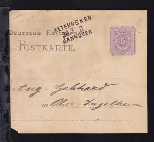ALTENBEKEN HANNOVER 26.3. II auf Ganzsache, 1875, Karte links verkürzt