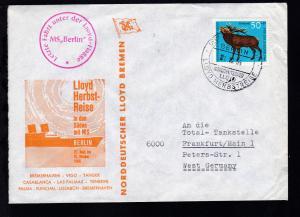 DEUTSCHE SCHIFFSPOST MS BERLIN NORDDEUTSCHER LLOYD LLOYD-HERBSTREISE 1.10.66 +