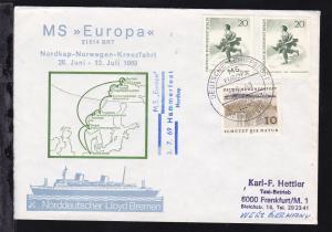 DEUTSCHE SCHIFFSPOST MS BERLIN NORDDEUTSCHER LLOYD NORWEGENFAHRT 10.7.69 +