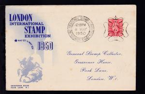 Briefmarken-Ausstellung London 1950 Sonderumschlag mit Sonderstempel