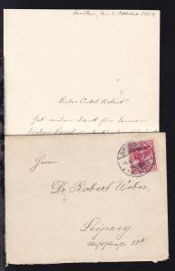 Germania 10 Pfg auf Brief mit Inhalt ab Dresden 4.10.04 nach Leipzig