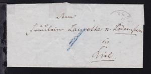 Plön K2 PLÖN 27.11.1849 (etwas schwach) azf Brief nach Kiel
