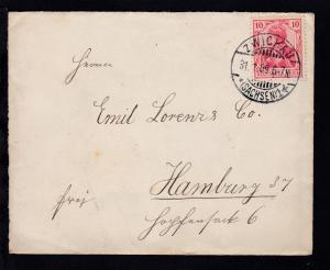 Germania 10 Pfg. Friedensdruck auf Brief ab Zwickau 31.1.09 nach Hamburg