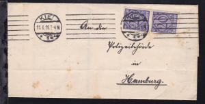 Ziffer 20 Pfg. senkr. Paar auf Brief der Staatsanwaltschaft Kiel ab Kiel 11.6.20