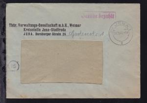 OSt. Jena 24.11.45 + R1 Gebühr bezahlt auf Fensterbrief der Thür. Verwaltungs