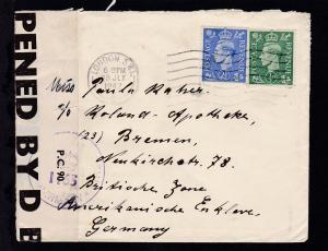 König Georg VI ½ P und 2½ P auf Brief ab London 20 JLY 47 nach Bremen