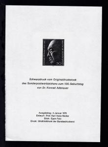 100. Geburtstag Konrad Adenauer Schwarzdruck