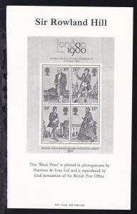 100. Todestag von Sir Rowland Hill Block Schwarzdruck