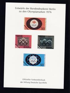 Entwürfe der Bundesdruckerei Berlin zu den Olympiamarken 1976