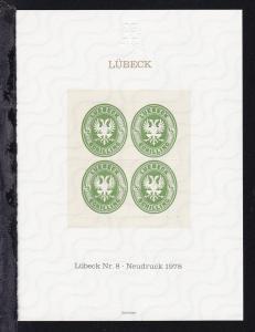 Neudruck der Lübeck-Marke Nr. 8 herausgegeben aus Anlaß der