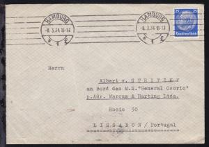 Hindenburg 25 Pfg. auf Brief ab Hamburg 8.3.34 an MS